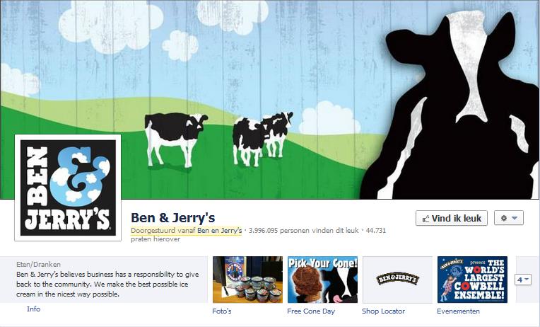 ben en jerry's Facebook pagina