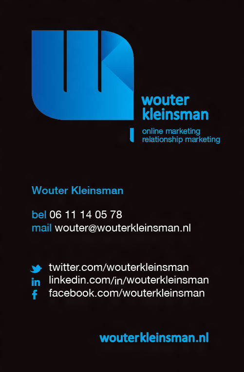 Visitekaartje Wouter Kleinsman Bureau voor online marketing en relationship marketing