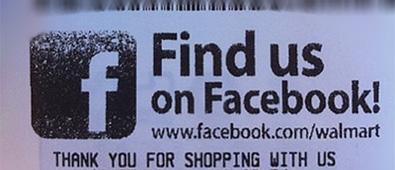 Walmart Facebook op kassa bonnetjes