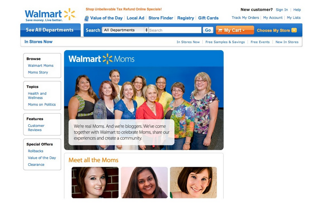 Walmart moms - social community