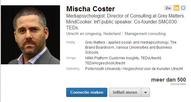 Linkedin profiel - Mischa coster