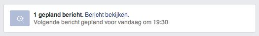 Facebook bericht ingesteld