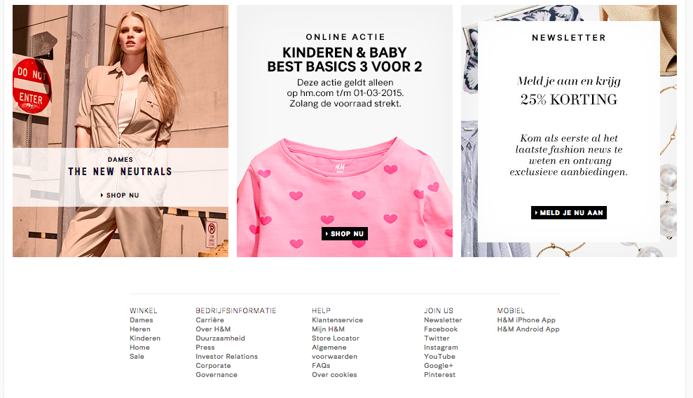 data verzamelen online marketing H&M kortingscoupon