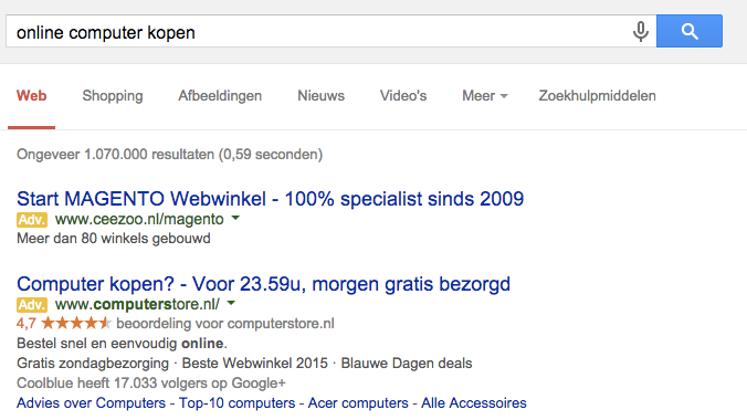 Coolblue-Adwords-campagne