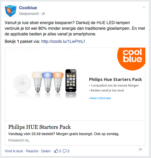 Coolblue remarketing advertentie facebook