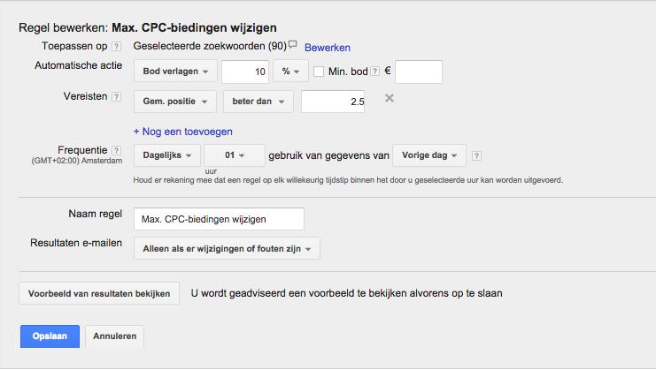 Automatiseren van je max cpc google adwords bieding