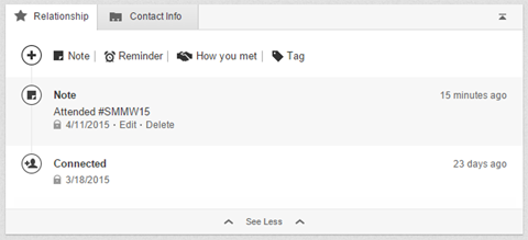 LinkedIn relationship tab notities