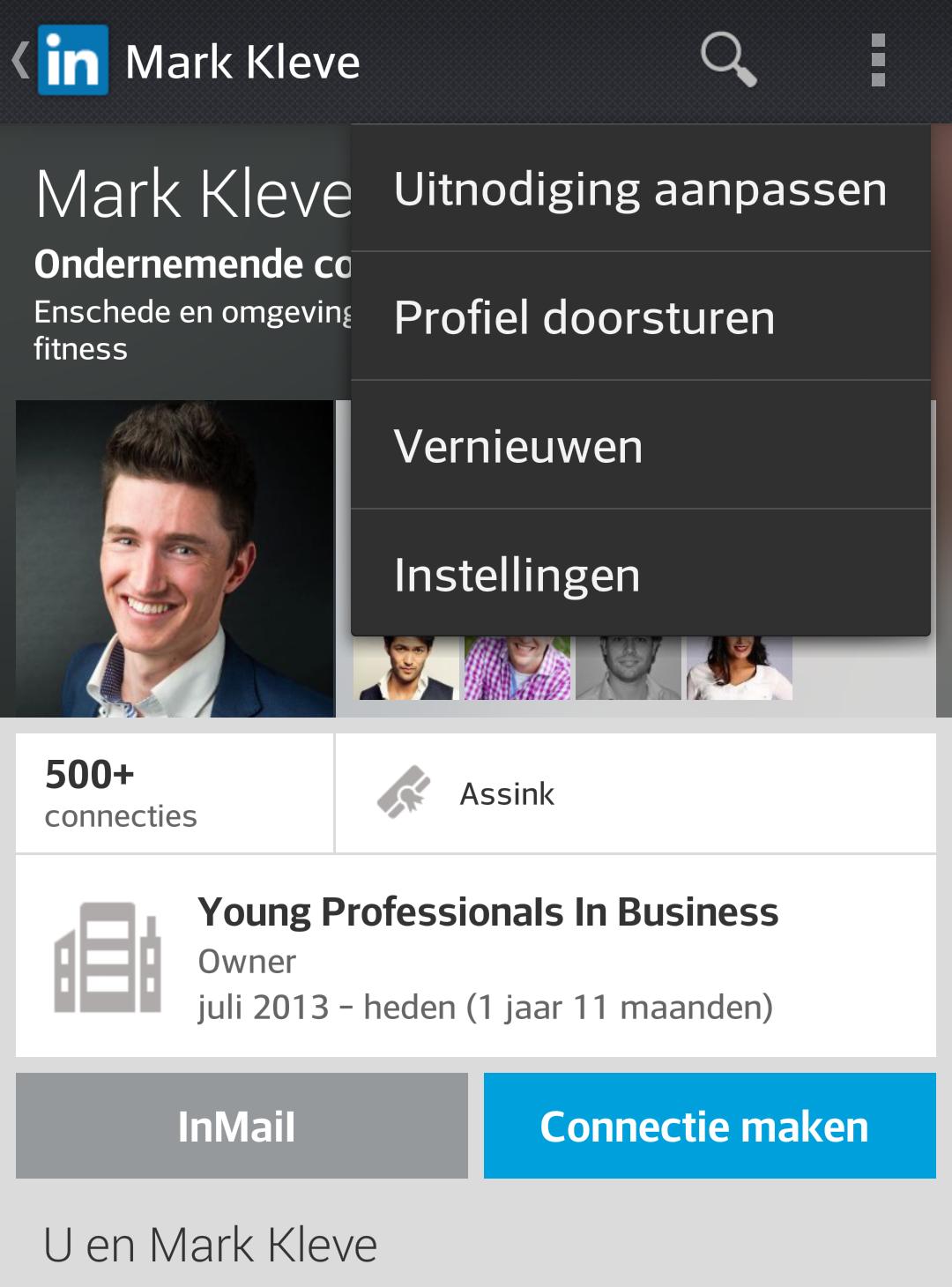 Linkedin uitnodiging aanpassen Android