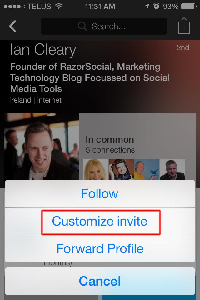 iPhone- Customize LinkedIn uitnodiging