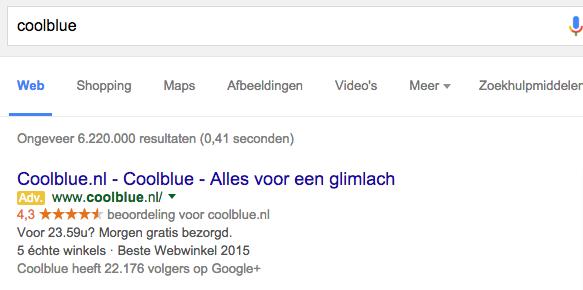 coolblue referenties google zoekmachine
