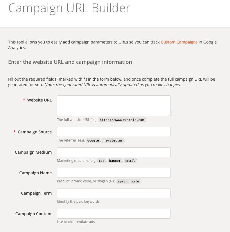 Google UTM Builder social media