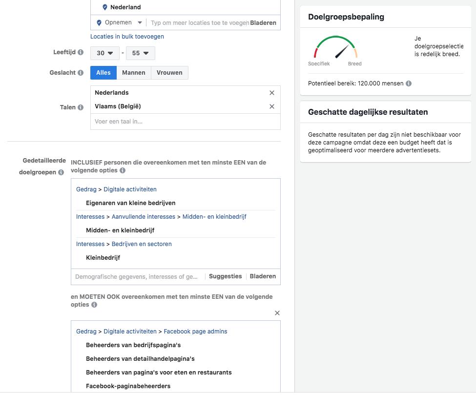Facebook adverteren doelgroep omschrijven