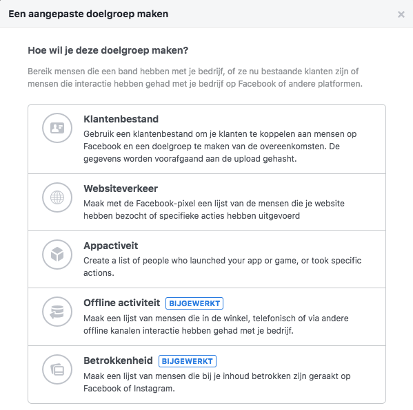Facebook en Instagram adverteren Remarketinglijst en websiteverkeer